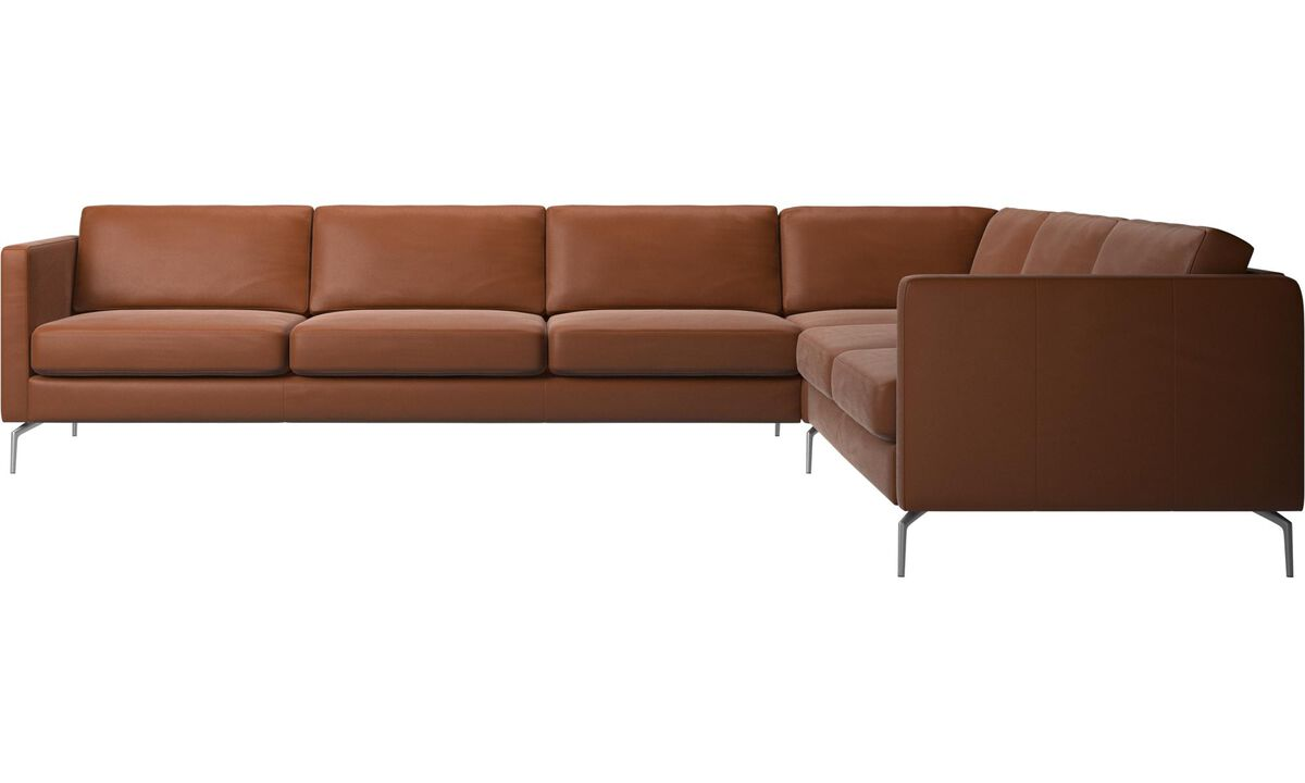 Corner sofas - Osaka corner sofa, regular seat - Brown - Leather