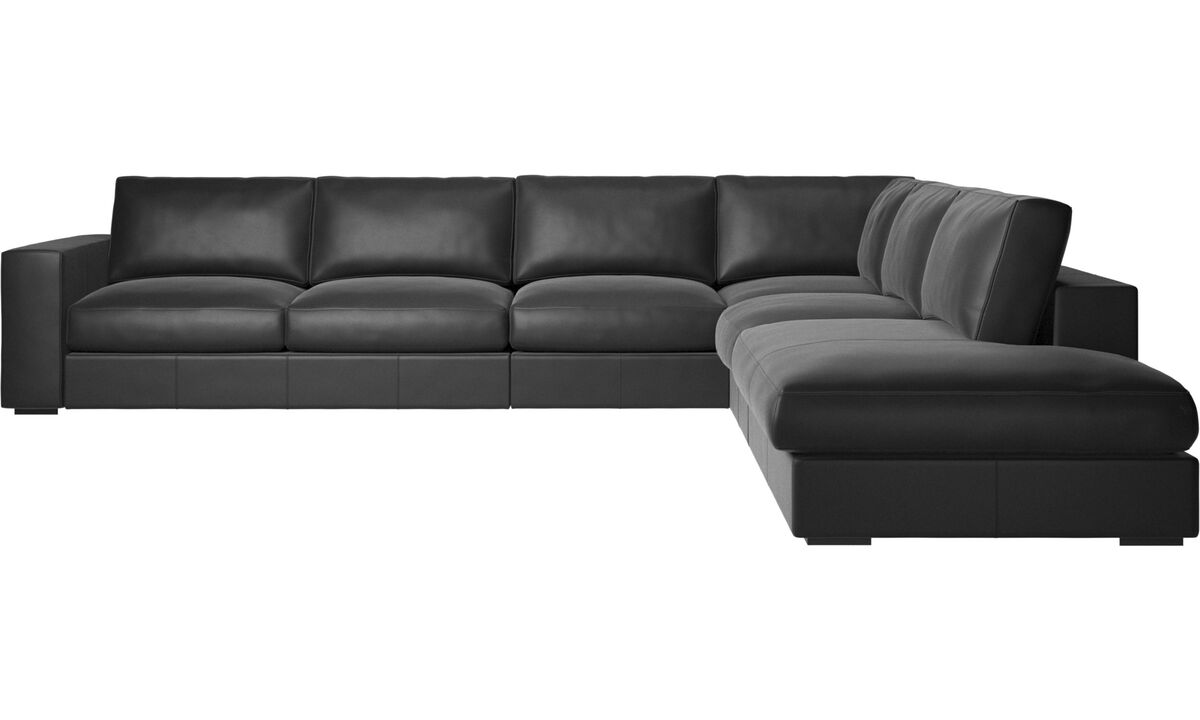 Sofas with open end - Cenova corner sofa with lounging unit - Black - Leather