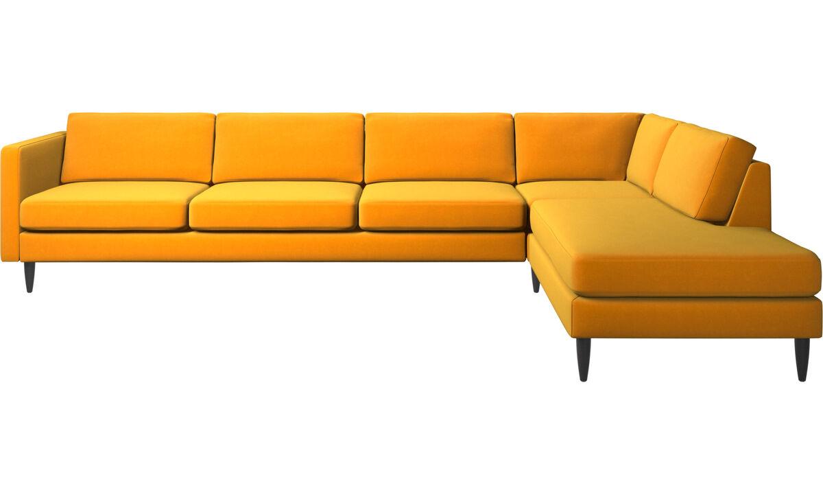 Sofás de canto - sofá de canto Osaka com módulo de descanso, assento regular - Laranja - Tecido