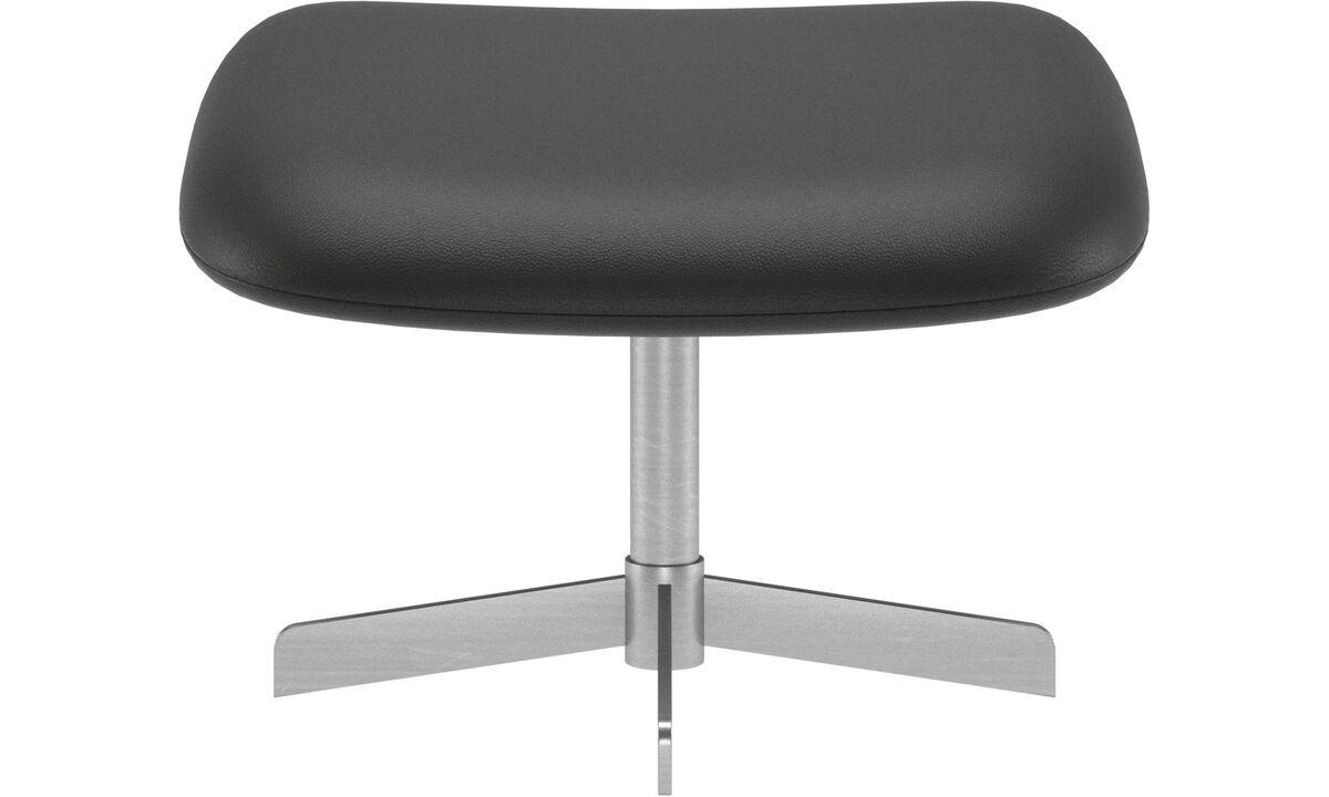 Footstools - Athena footstool - Black - Leather