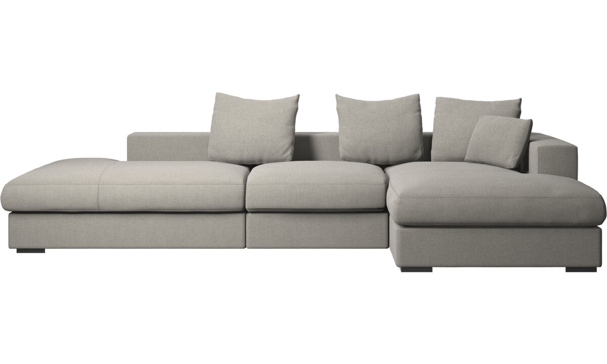 3 seater sofas - Cenova sofa with lounging and resting unit - Grey - Fabric