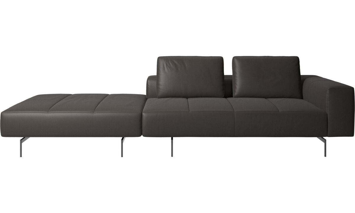 3 seater sofas - Amsterdam sofa with pouf on right side - Brown - Leather