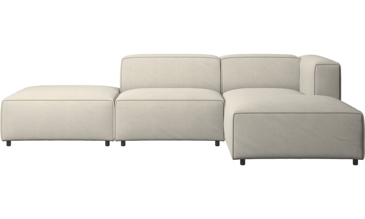 Chaise lounge sofas - Carmo sofa with lounging and resting unit - White - Fabric