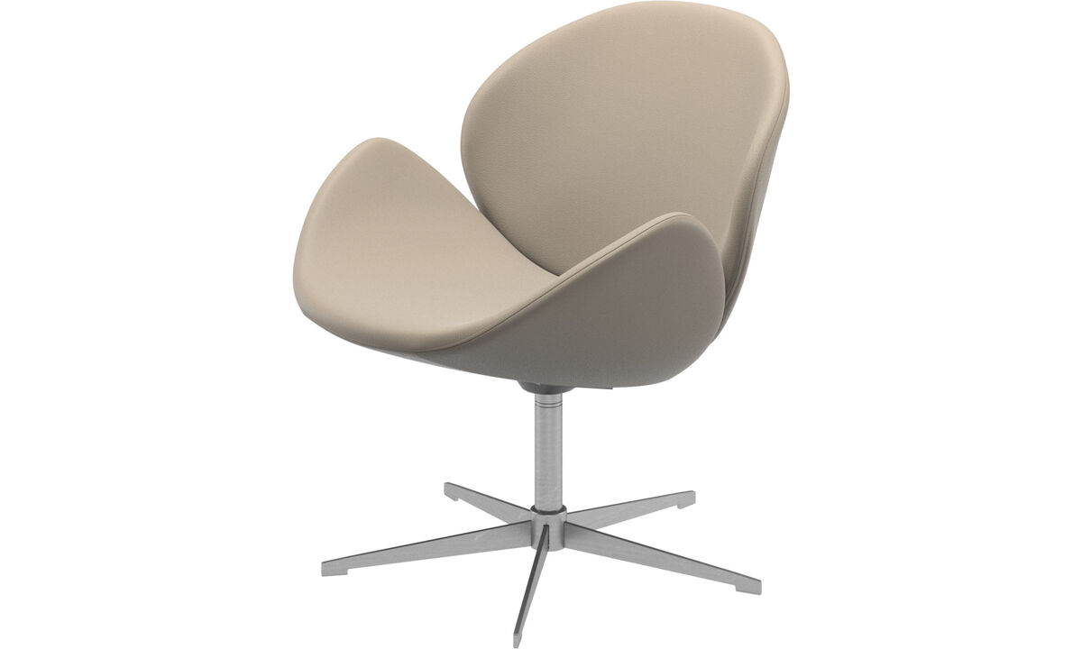 Armchairs - Ogi chair with swivel function - Beige - Leather