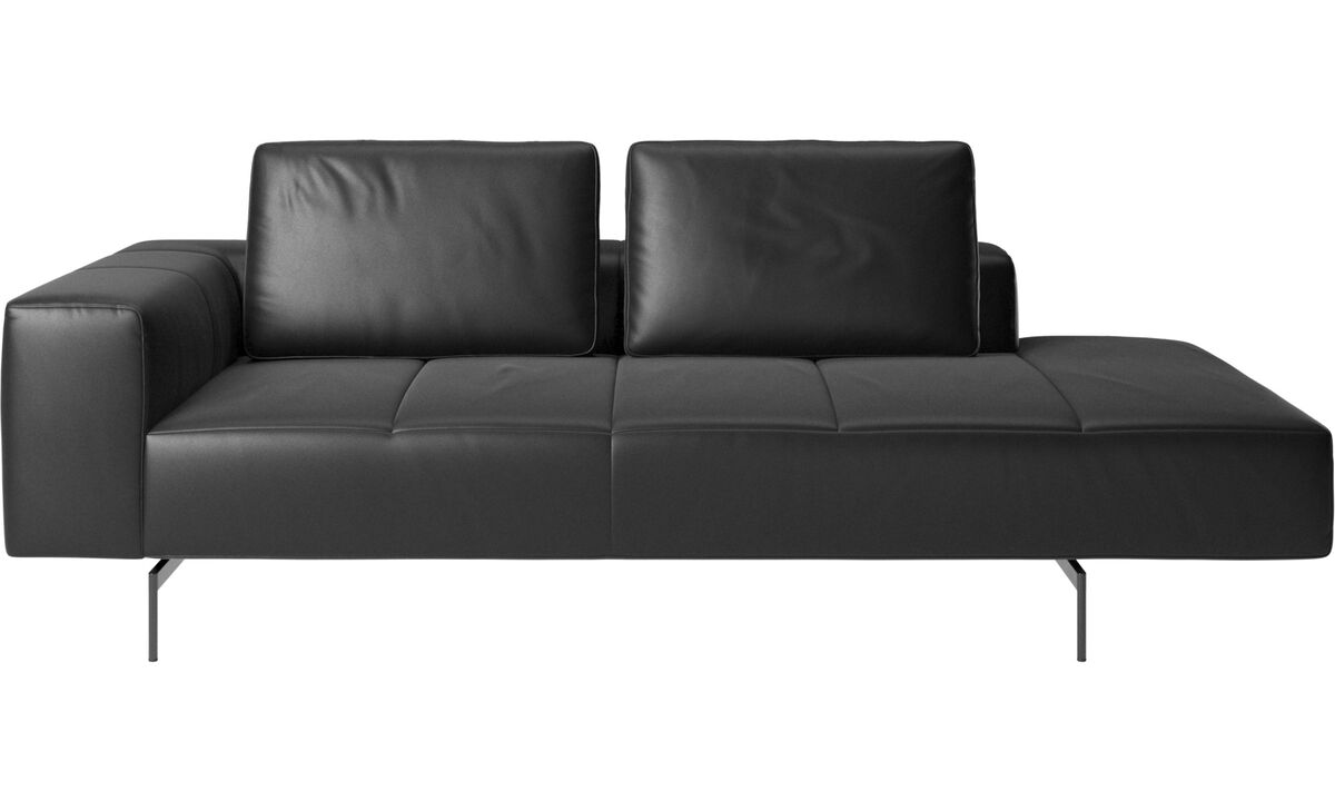 Chaise lounge sofas - Amsterdam resting module for sofa, large armrest right - Black - Leather