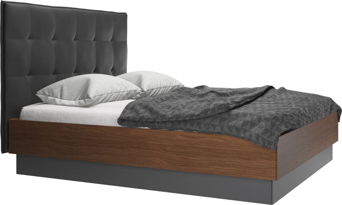 Beds - Lugano storage bed with lift-up frame and slats, excl. mattress - Black - Leather