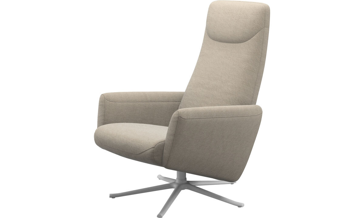 Armchairs - Lucca recliner with swivel function - Beige - Fabric