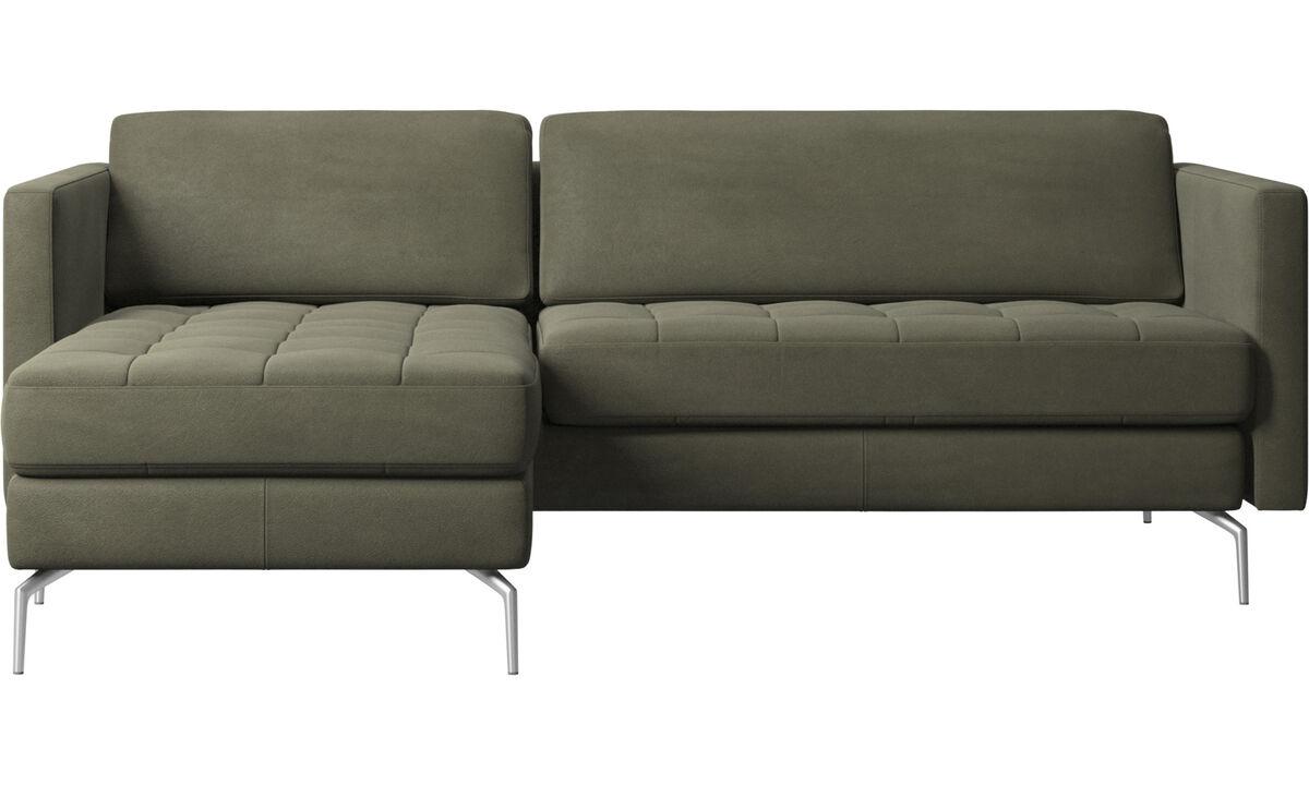 Sofas mit Récamiere - Osaka Sofa mit Ruhemodul, getuftete Sitzfläche - Grün - Leder