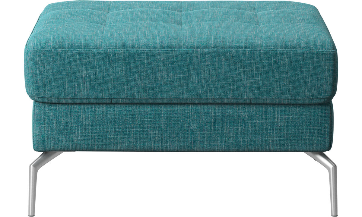 Footstools - Osaka footstool, tufted seat - Blue - Fabric