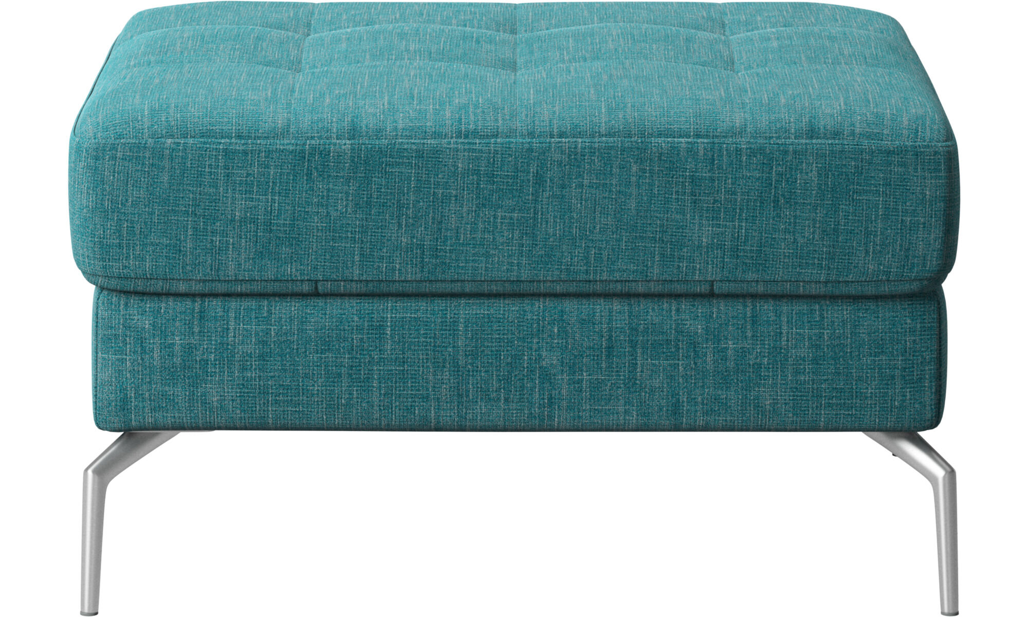 Footstools   Osaka Footstool, Tufted Seat   Blue   Fabric