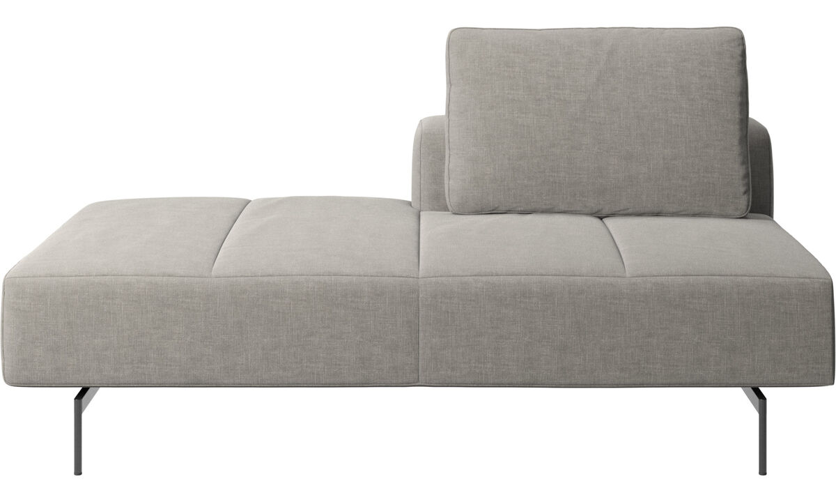 Sofas with open end - Amsterdam lounging module for sofa, small armrest left - Grey - Fabric