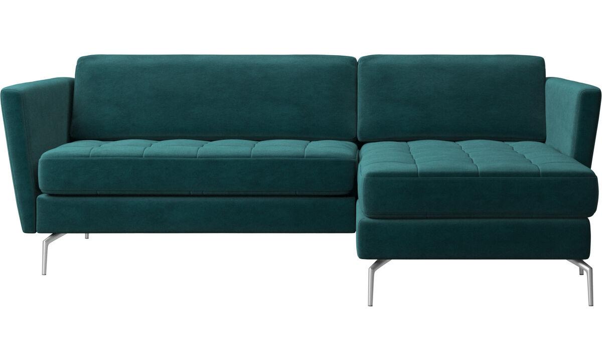 Sofás con chaise longue - sofá Osaka con módulo chaise-longue, asiento capitoné - En azul - Tela