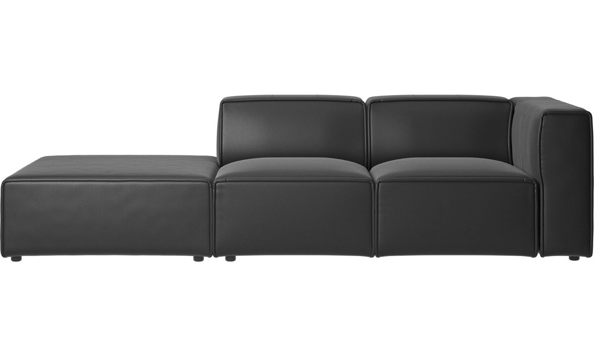 Sofas with open end - Carmo motion sofa - Black - Leather