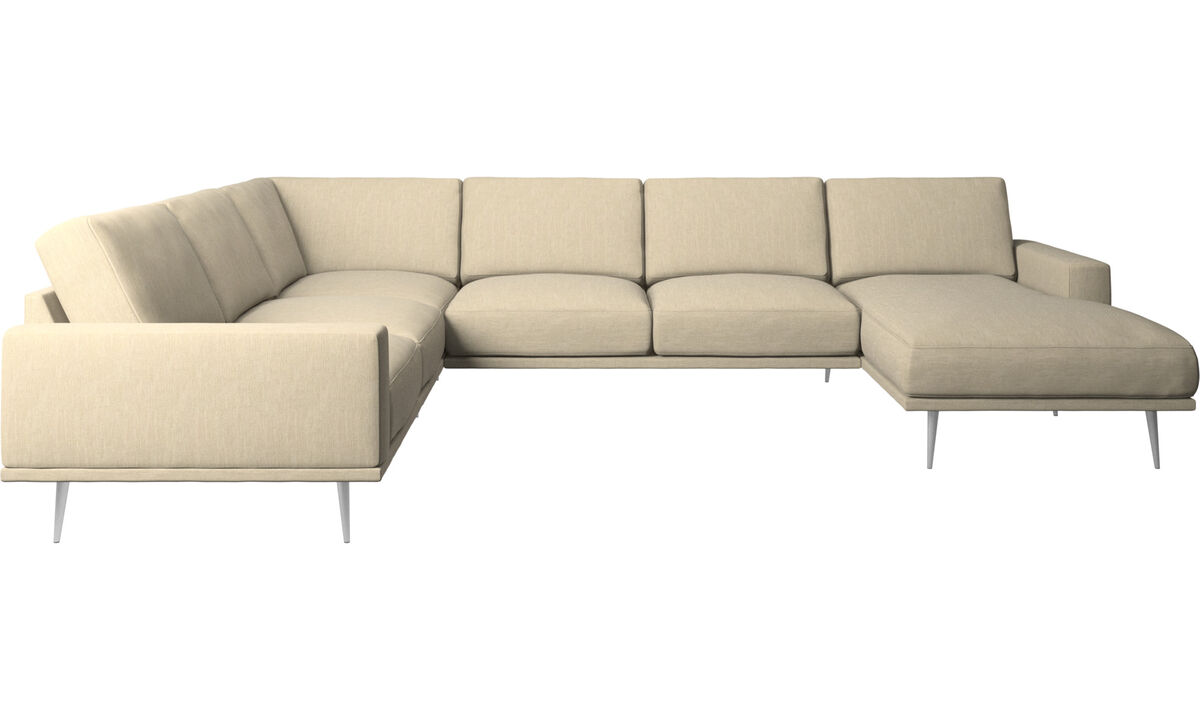 Chaise lounge sofas - Carlton corner sofa with resting unit - Brown - Fabric