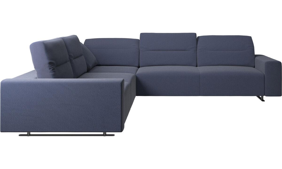 Corner sofas - Hampton corner sofa with adjustable back - Blue - Fabric