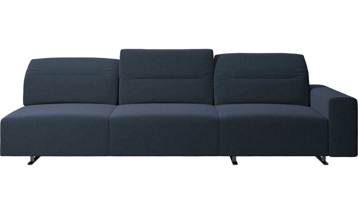 New designs - Hampton corner sofa with adjustable back and storage on right side - Blue - Fabric