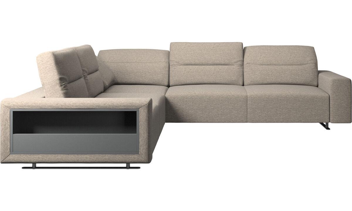 Corner sofas - Hampton corner sofa with adjustable back and storage on left side - Beige - Fabric