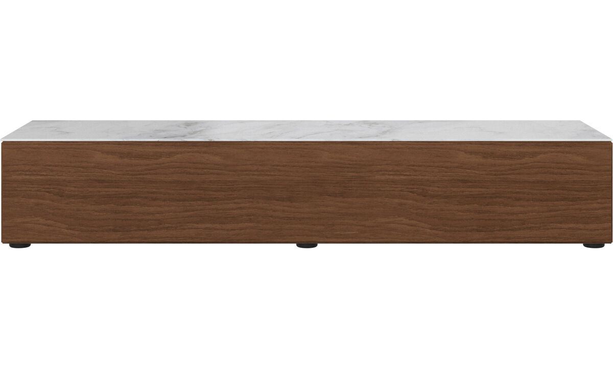 Tv units - Lugano base cabinet with drop down door and top plate - White - Walnut