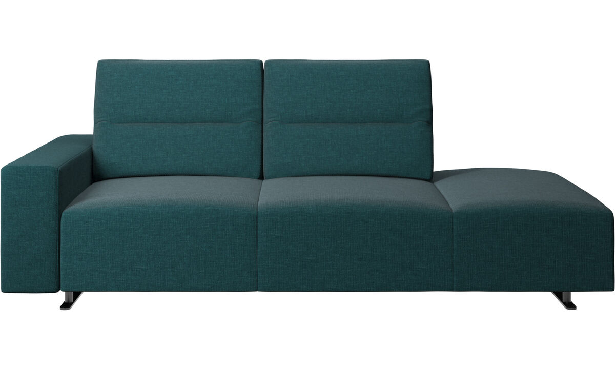 Sofas with open end - Hampton sofa with adjustable back and lounging unit right side, storage and armrest left side - Blue - Fabric