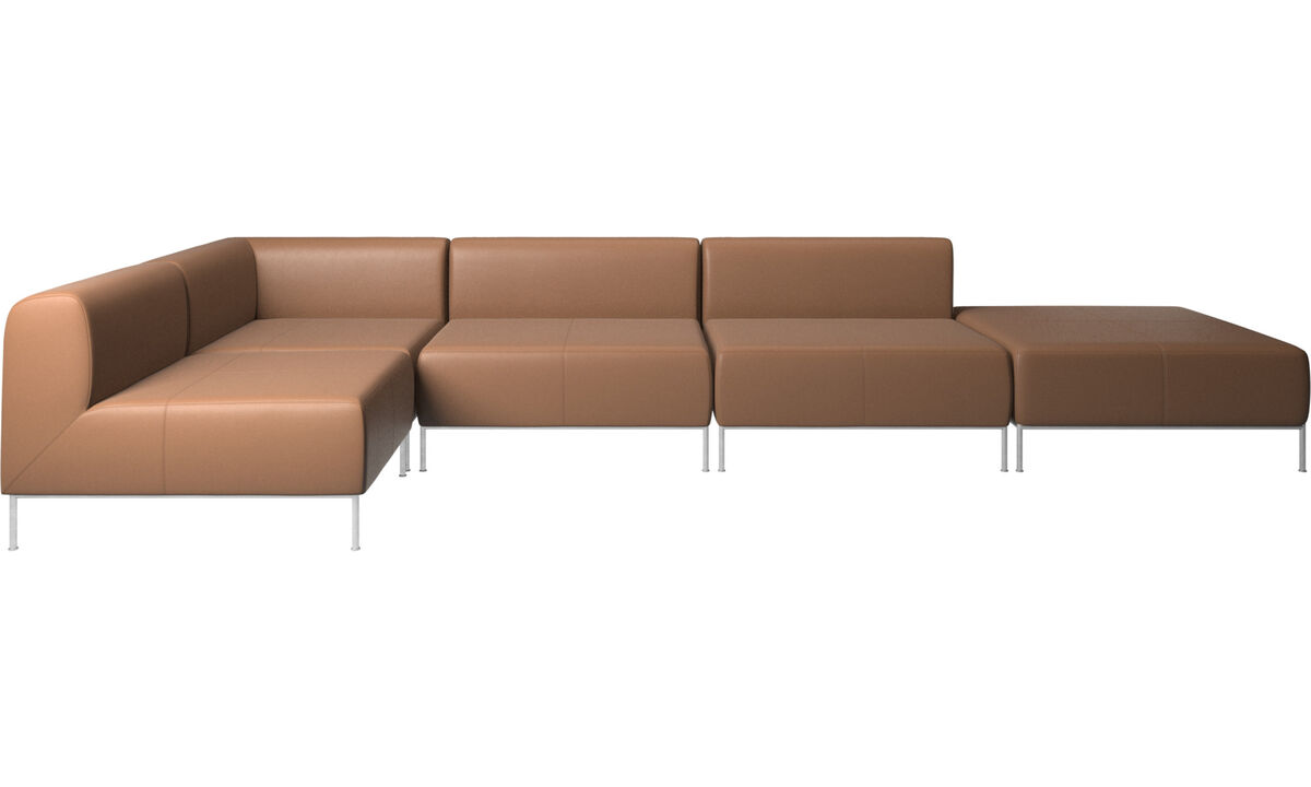 Modular sofas - Miami corner sofa with pouf on right side - Brown - Leather