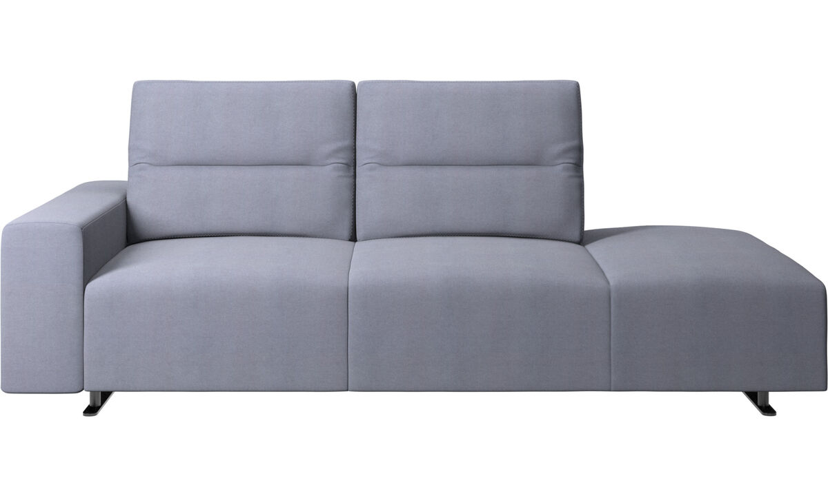 Sofas with open end - Hampton sofa with adjustable back and lounging unit right side, armrest left - Blue - Fabric