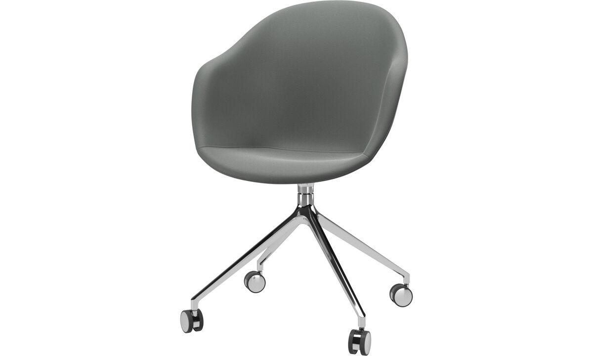 Обеденные стулья - Кресло Adelaide с функцией вращения на колесиках - Серого цвета - Кожа