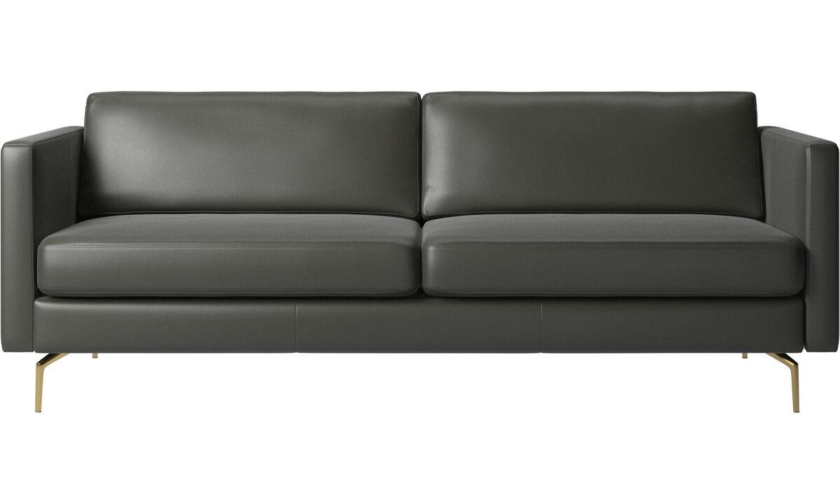 2.5 seater sofas - Osaka sofa, regular seat - Grey - Leather