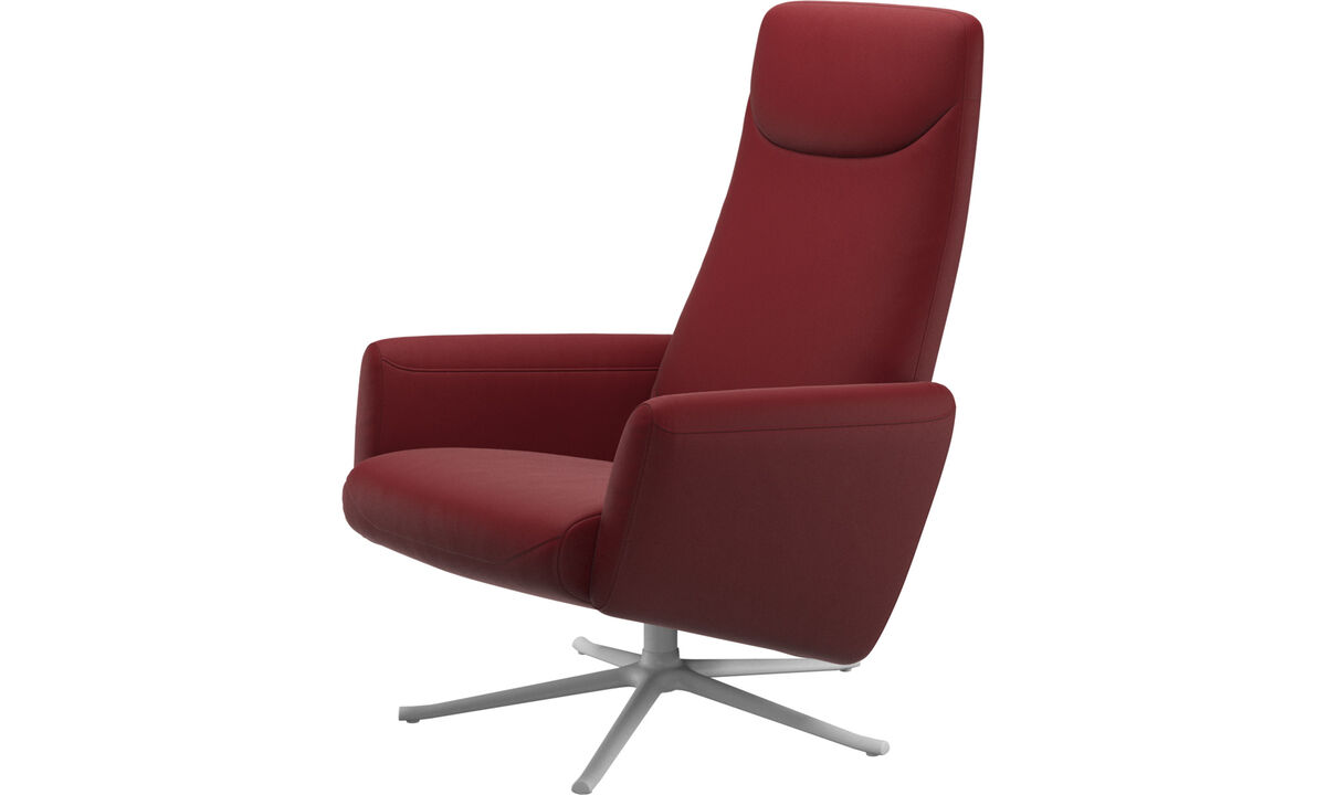 Recliners - Lucca recliner with swivel function - Red - Leather