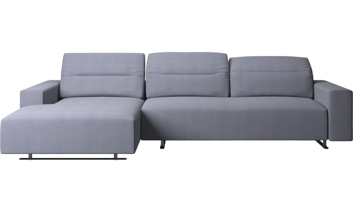 Chaise longue sofas - Hampton sofa with adjustable back and resting unit left side, storage right side - Blue - Fabric