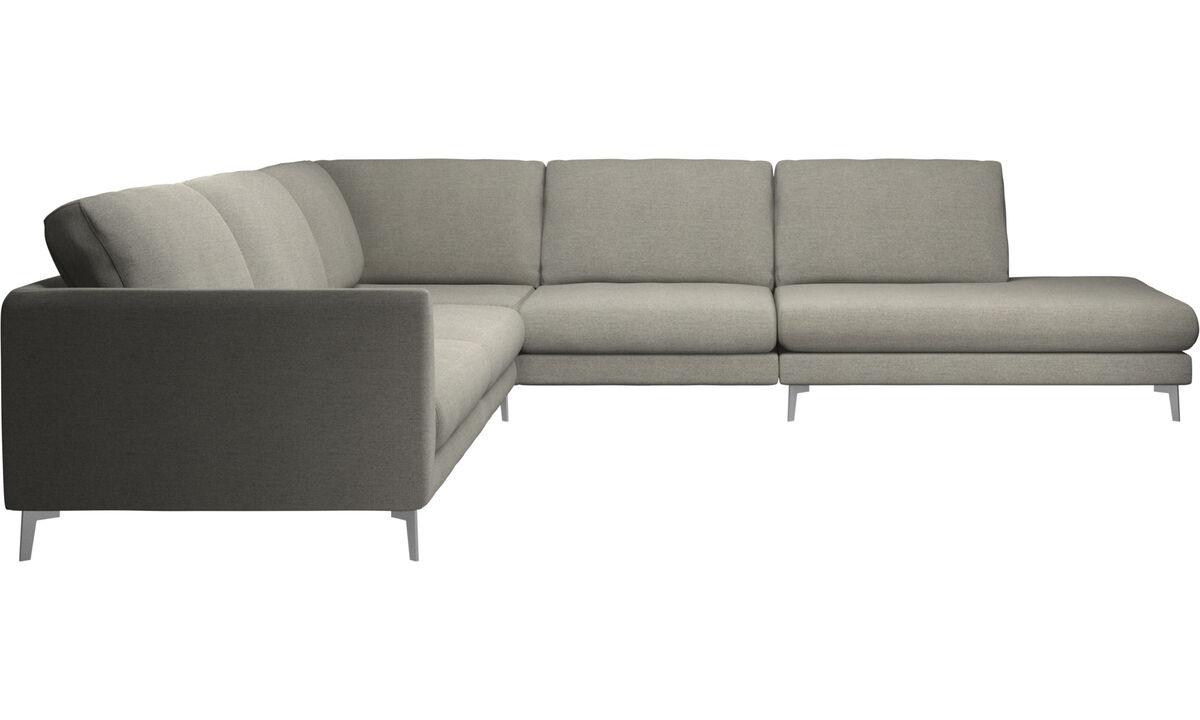 Sofás esquineros - sofá esquinero Fargo con módulo de descanso - En beige - Tela