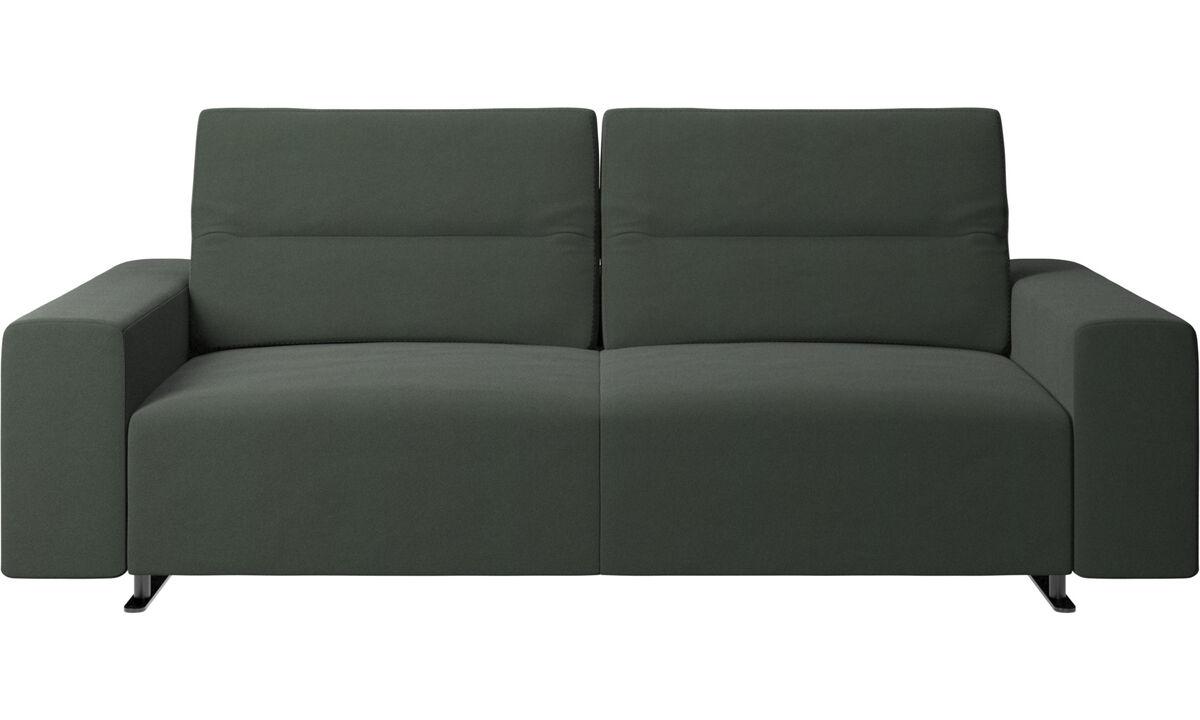 Sofás de 2 lugares e meio - Sofá Hampton com encosto ajustável - Verde - Tecido