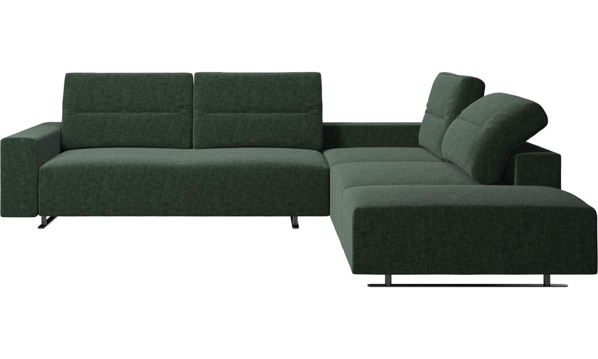 Sofás esquineros - Sofá esquinero Hampton con respaldo ajustable y módulo de descanso - En verde - Tela