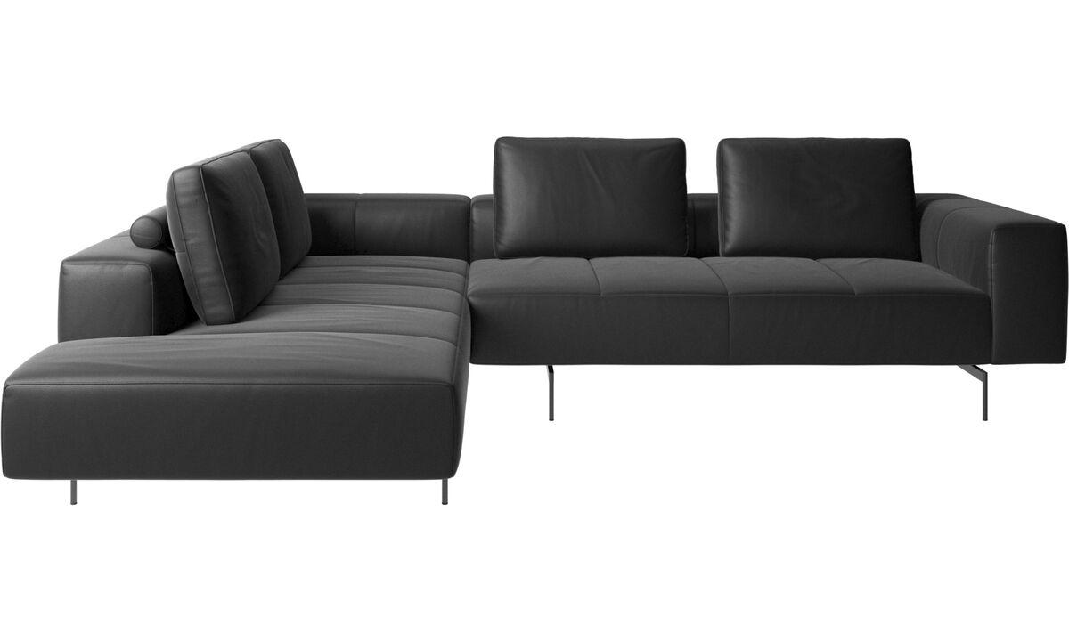 Modular sofas - Amsterdam corner sofa with lounging unit - Black - Leather