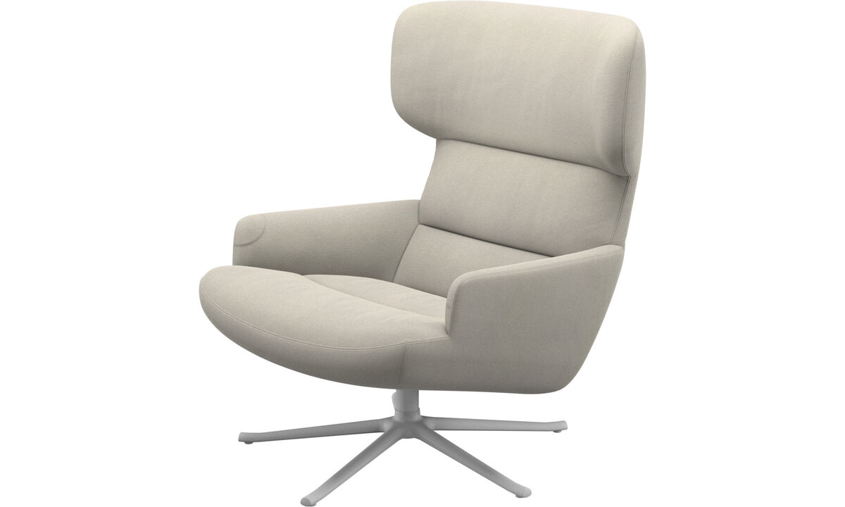 Armchairs - Trento chair with swivel function - White - Fabric