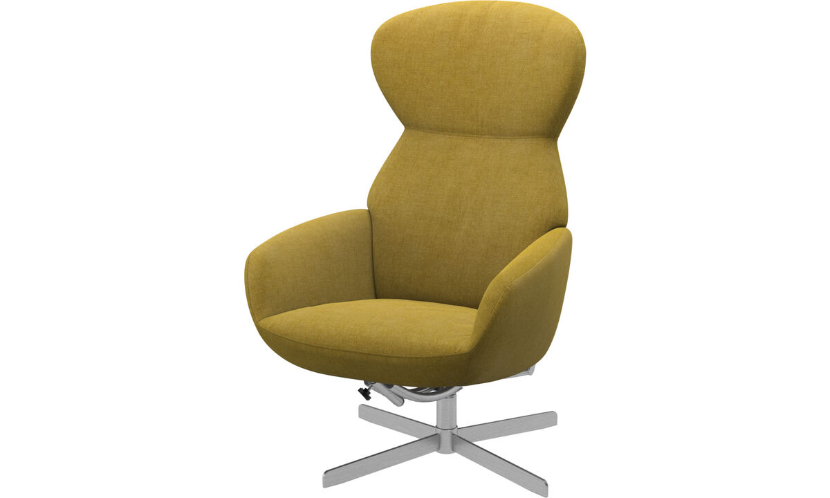 Recliners - Athena chair with reclining back function and swivel base - Yellow - Fabric