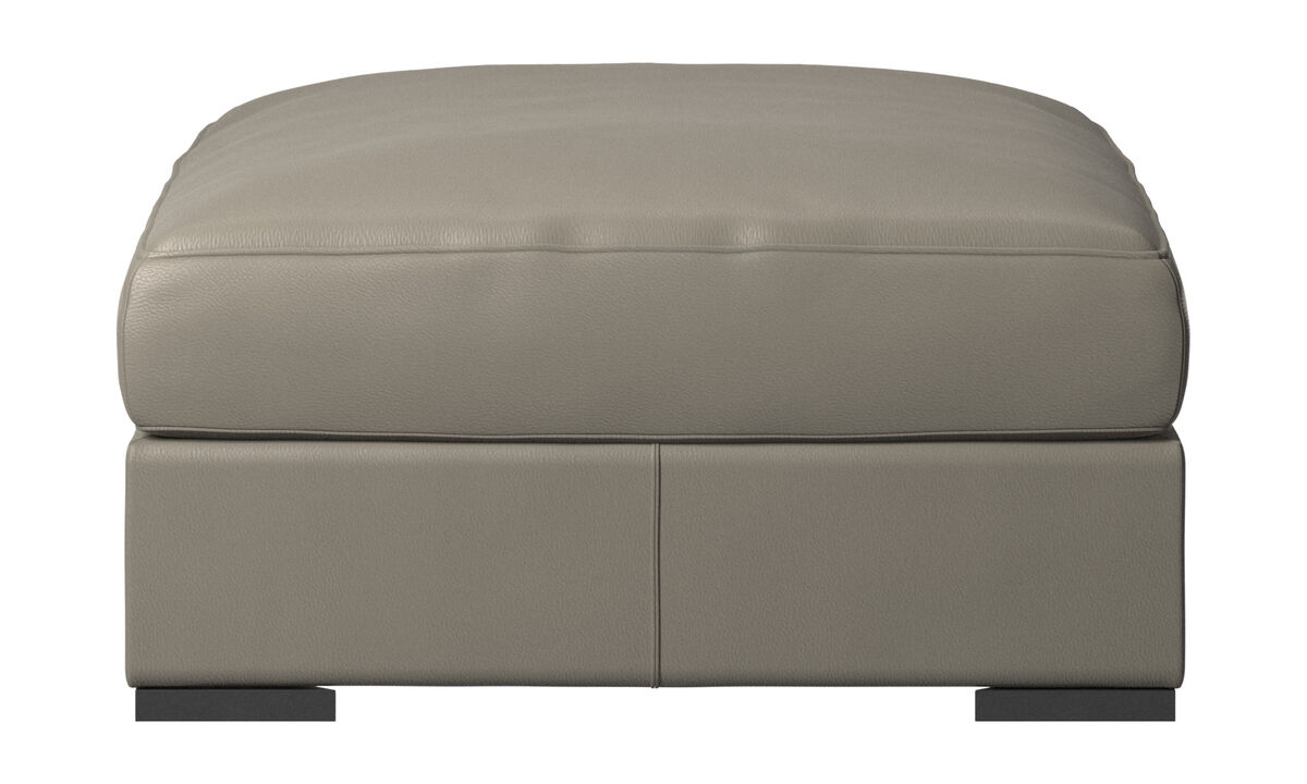 Footstools - Cenova footstool - Grey - Leather