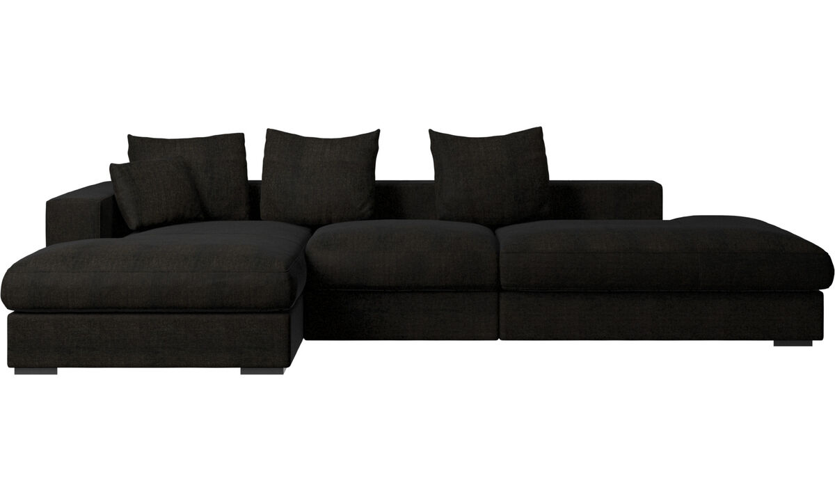 Sofas with open end - Cenova sofa with lounging and resting unit - Brown - Fabric