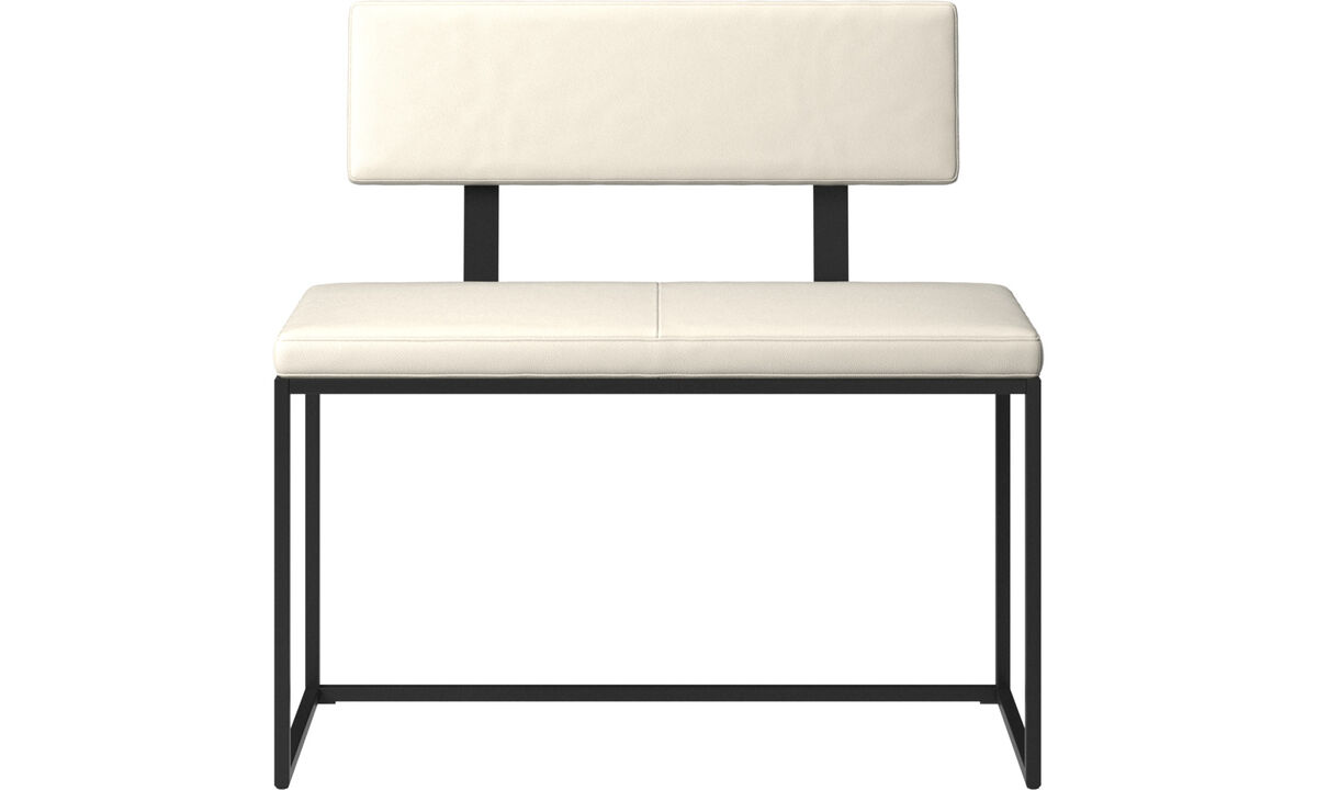 Benches - London small bench with cushion and backrest - White - Leather