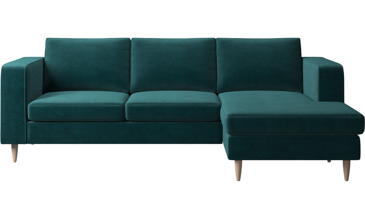 Sofás con chaise longue - sofá Indivi 2 con módulo chaise-longue - En azul - Tela