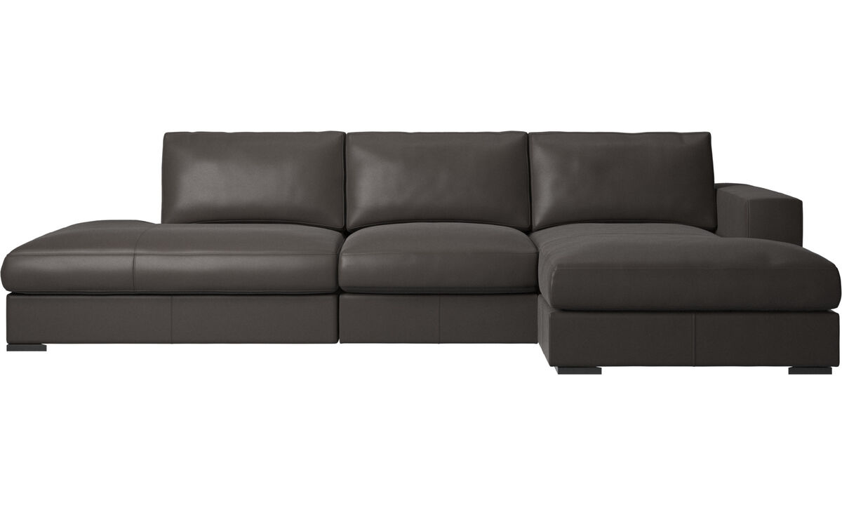 3 seater sofas - Cenova sofa with lounging and resting unit - Brown - Leather