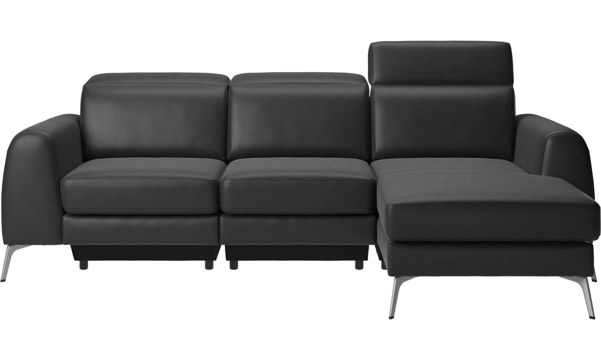 New designs - Madison sofa with resting unit and adjustable headrest - Black - Leather