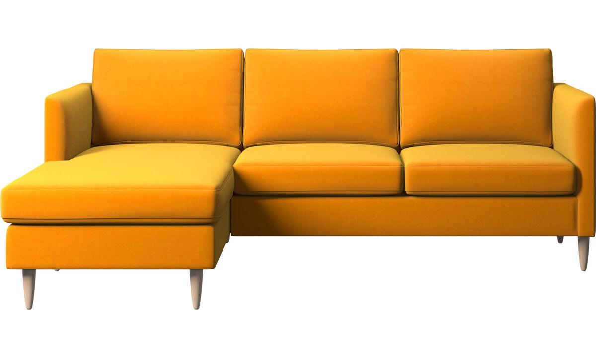 Sofás com chaise - sofá Indivi com módulo chaise-longue - Laranja - Tecido
