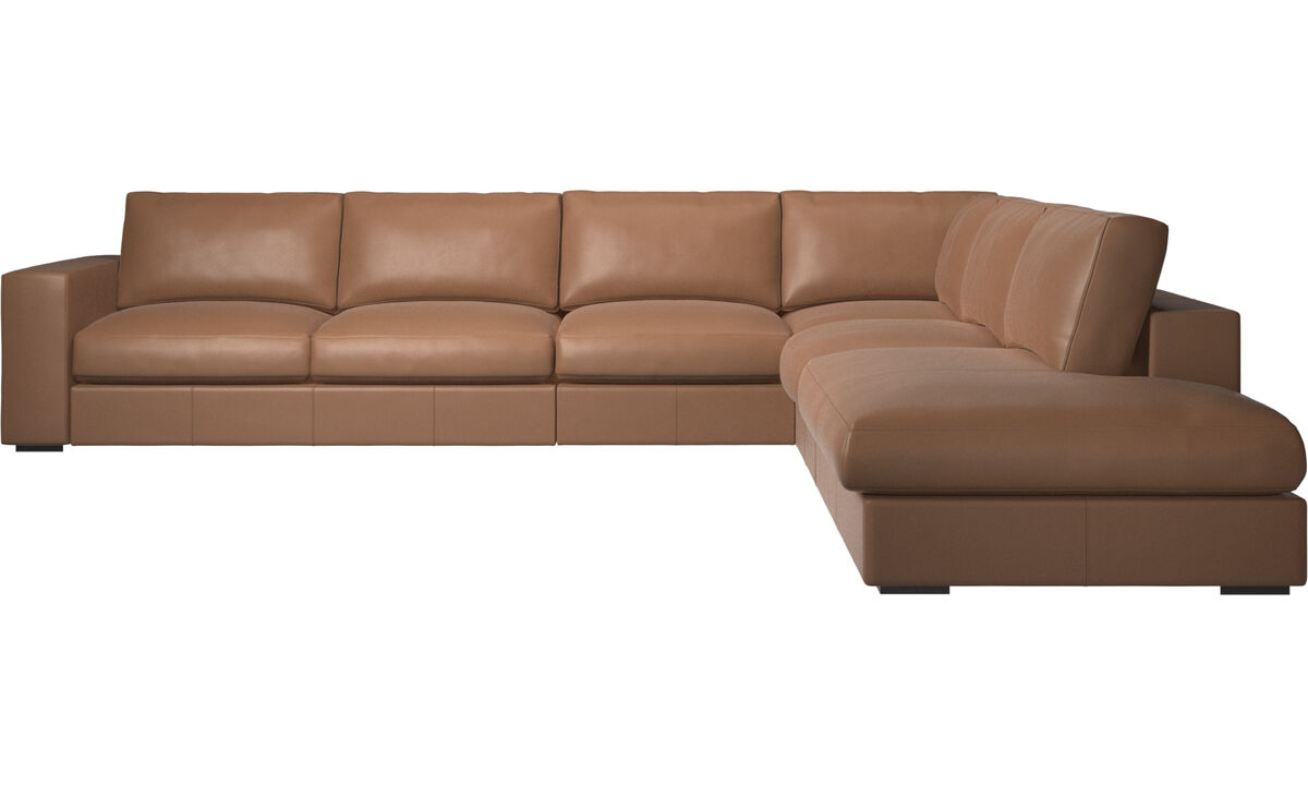 Sofas with open end - Cenova corner sofa with lounging unit - Brown - Leather