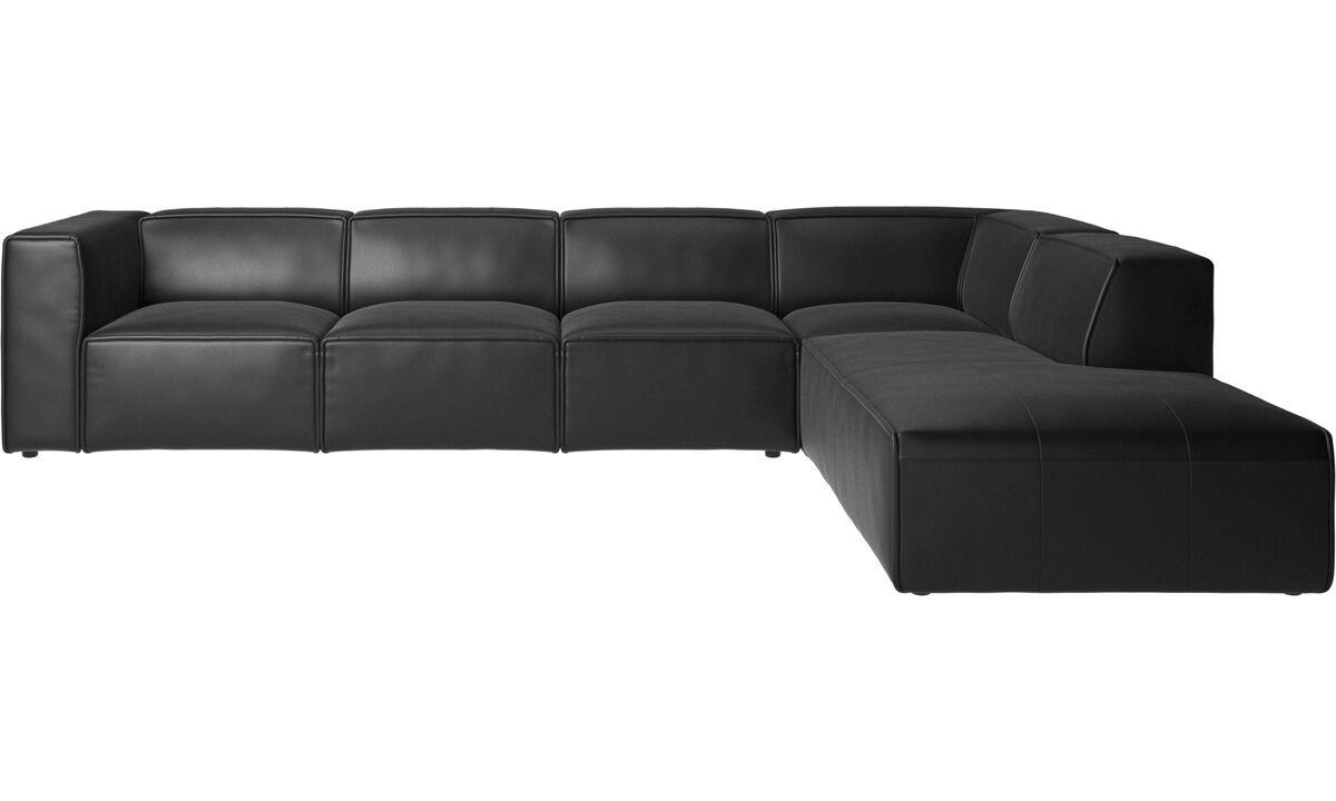 Sofás modulares - Sofá esquinero Carmo con módulo de descanso - En negro - Piel
