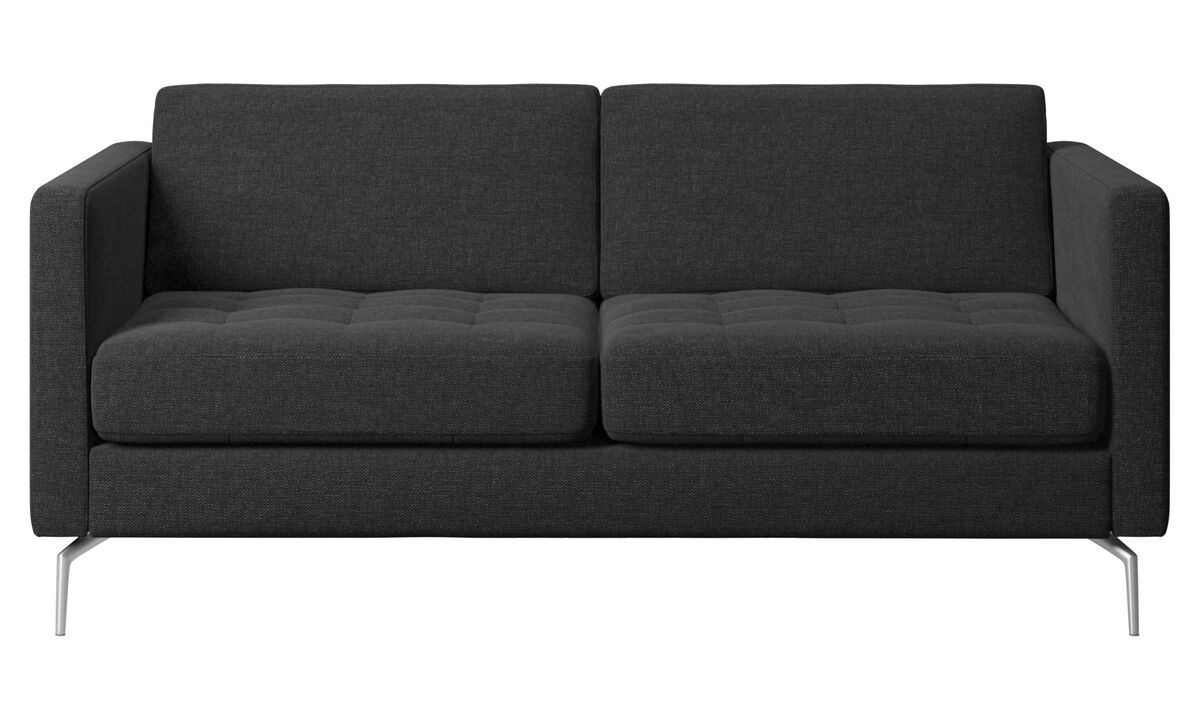 2 seater sofas - Osaka sofa, tufted seat - Black - Fabric