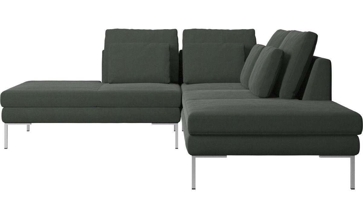 Sofás com canto aberto - sofá Istra 2 com módulo de descanso - Verde - Tecido