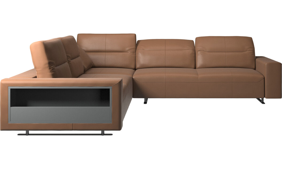 Corner sofas - Hampton corner sofa with adjustable back and storage on left side - Brown - Leather
