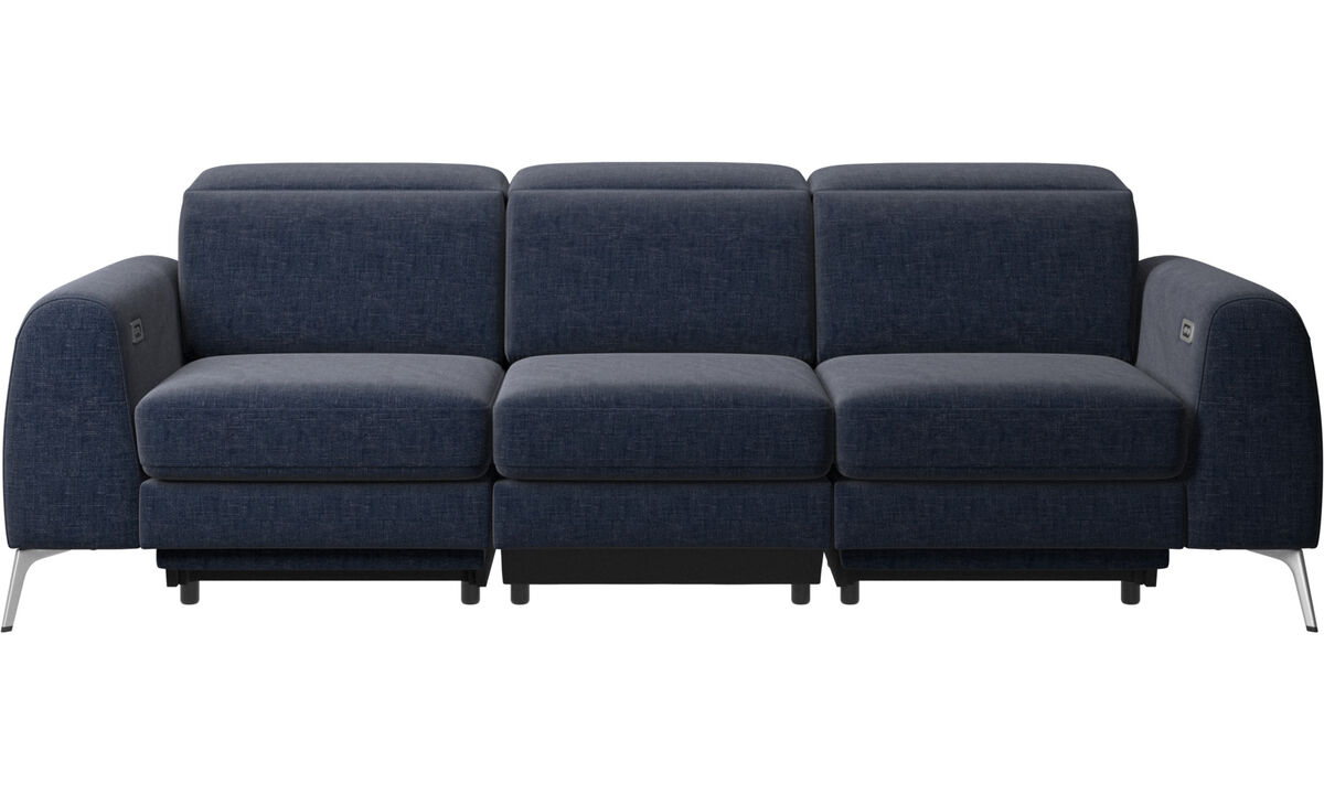 Navy Blue Napoli - Madison sofa with electric seat, head and footrest motion (transformer and cable plug-in included) - Blue - Fabric