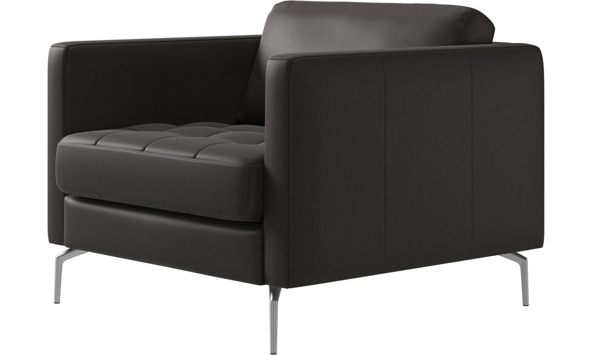 Armchairs - Osaka chair, tufted seat - Brown - Leather