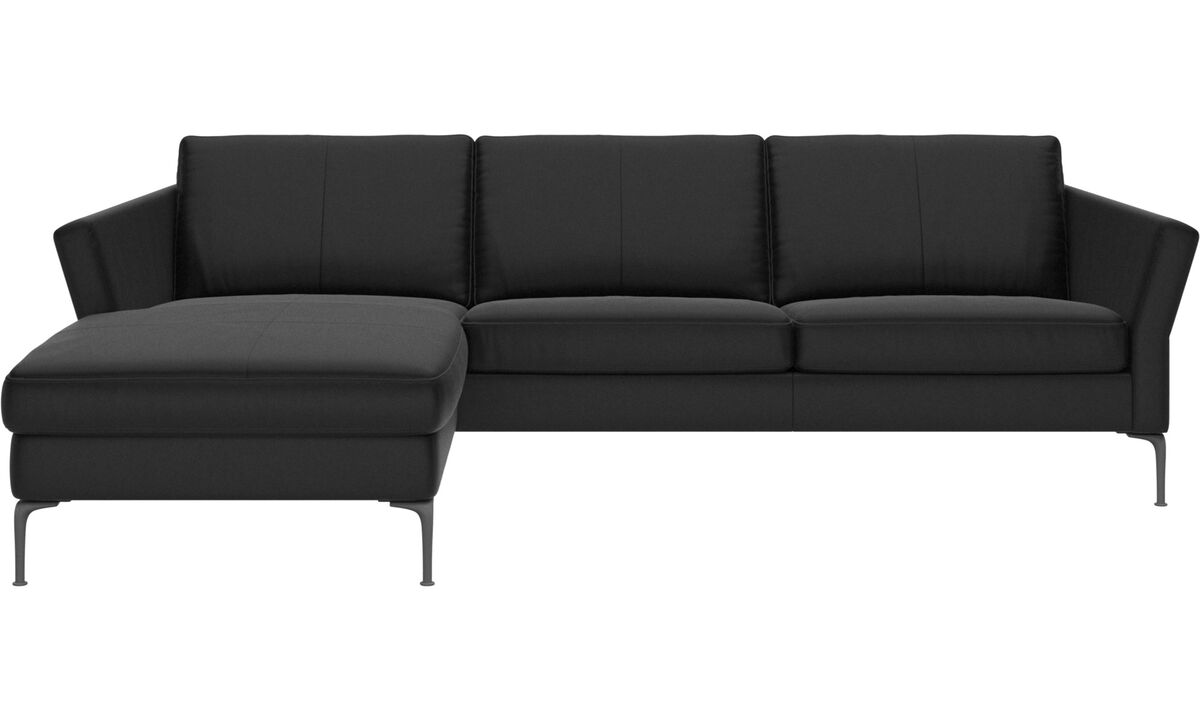Chaise longue sofas - Marseille 2,5 seaters with chaise longue sofa, left - Black - Leather